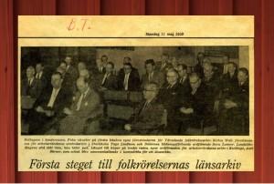 Första steget till folkrörelsernas länsarkiv. Tidningsurklipp från Borlänge tidning den 11 maj 1959.