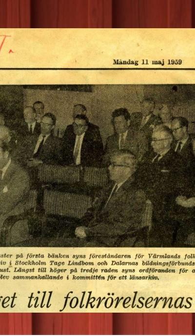 Tidningsurklipp från mötet där Folkrörelsearkivet bildades.