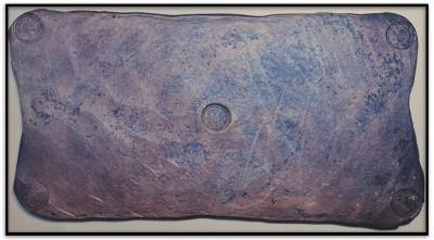 Ett kopparmynt med värdet 10 daler silvermynt. Vikt 19,7 kilo. Präglat i Avesta 1644.
