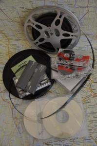 Bild med lagringsmedia. Film, kassetter och liknande.