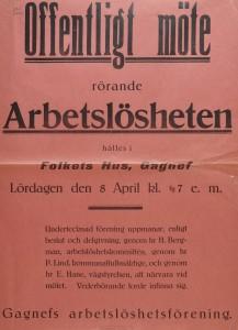Affisch om ett offentligt möte om arbetslösheten. Folkets Hus i Gagnef den 8 april 1922.