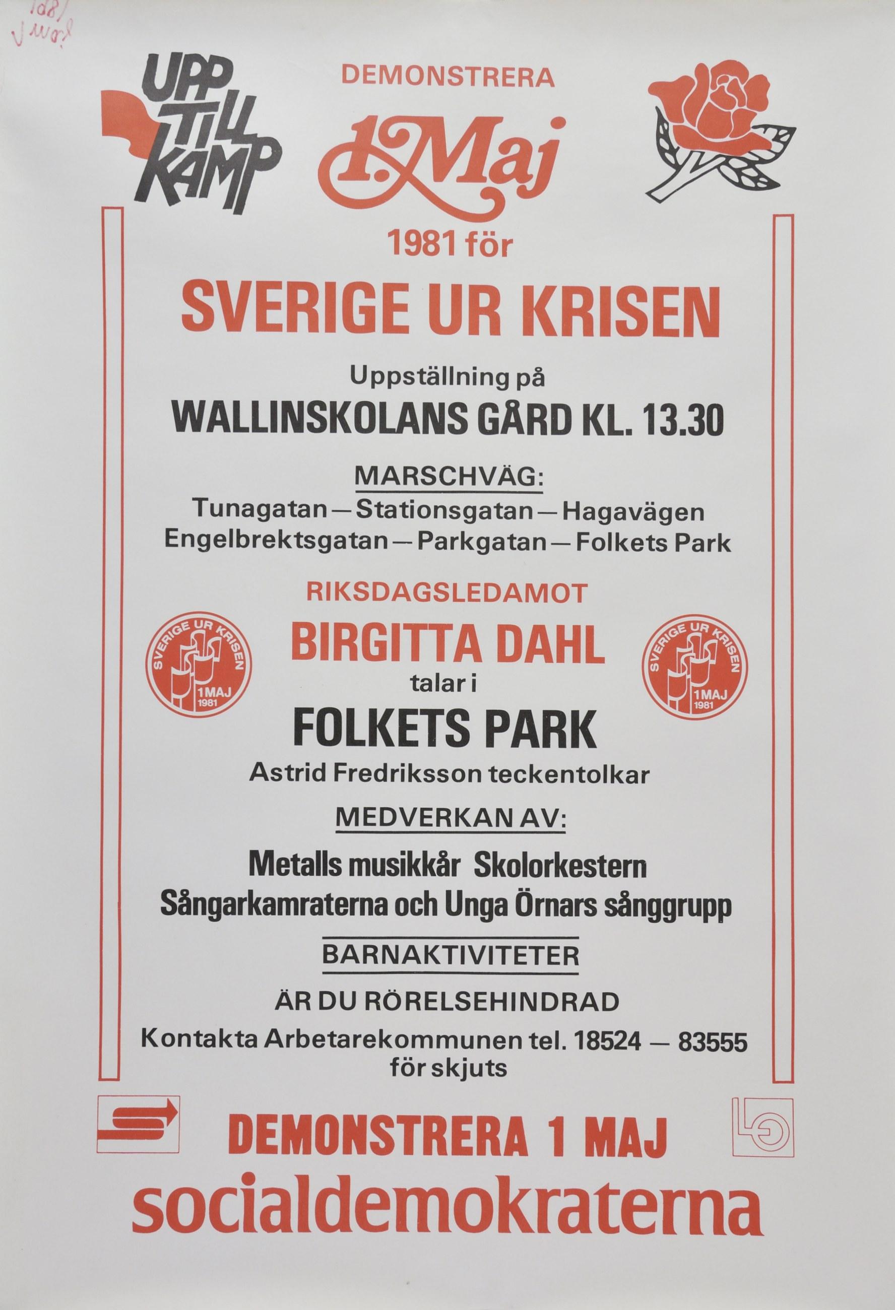 1 maj affisch 1981 från Socialdemokraterna