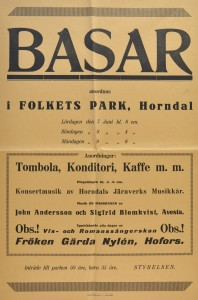 Affisch om Basar i Horndal 1924