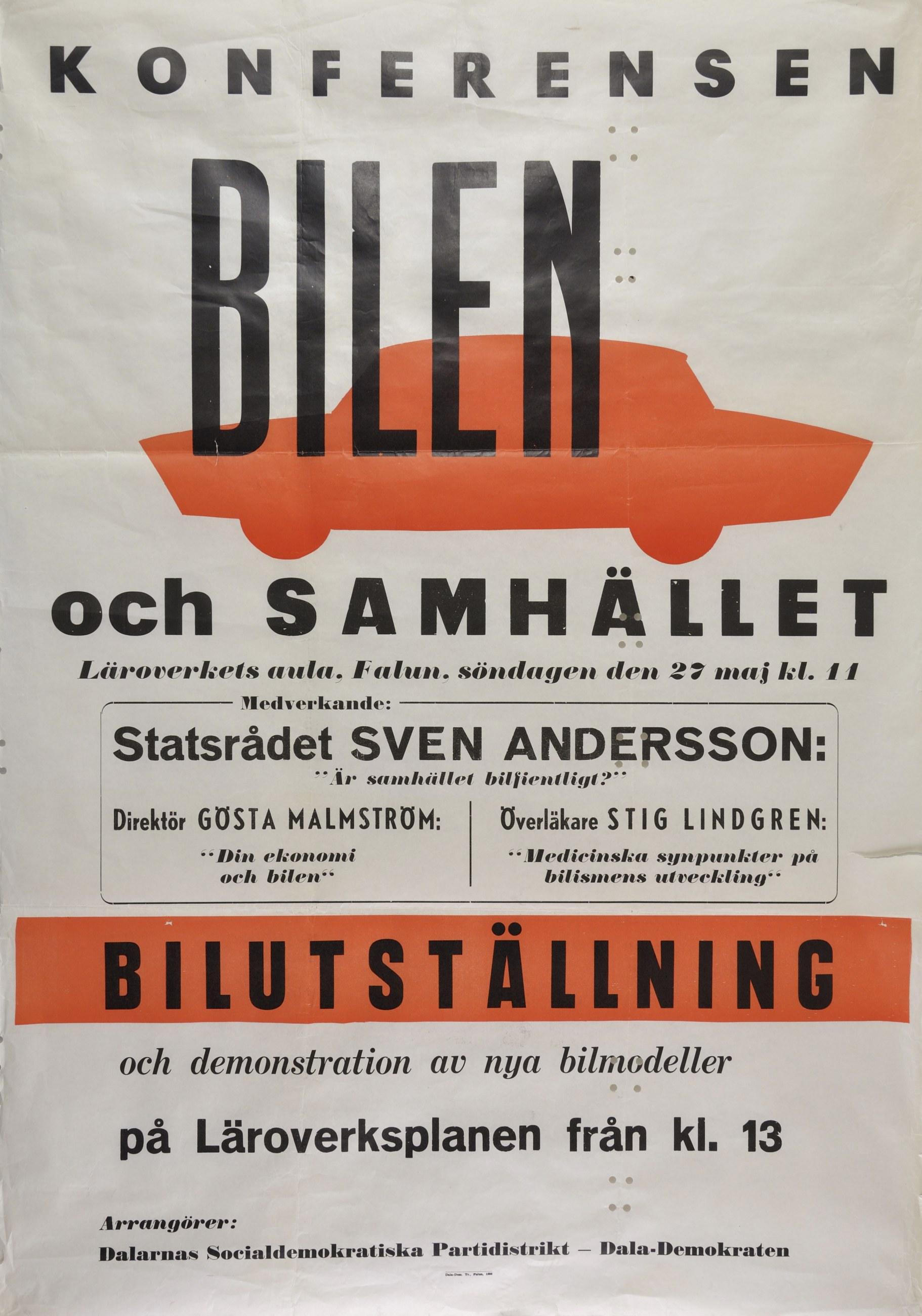 Affisch för bilutställning i Falun 1956