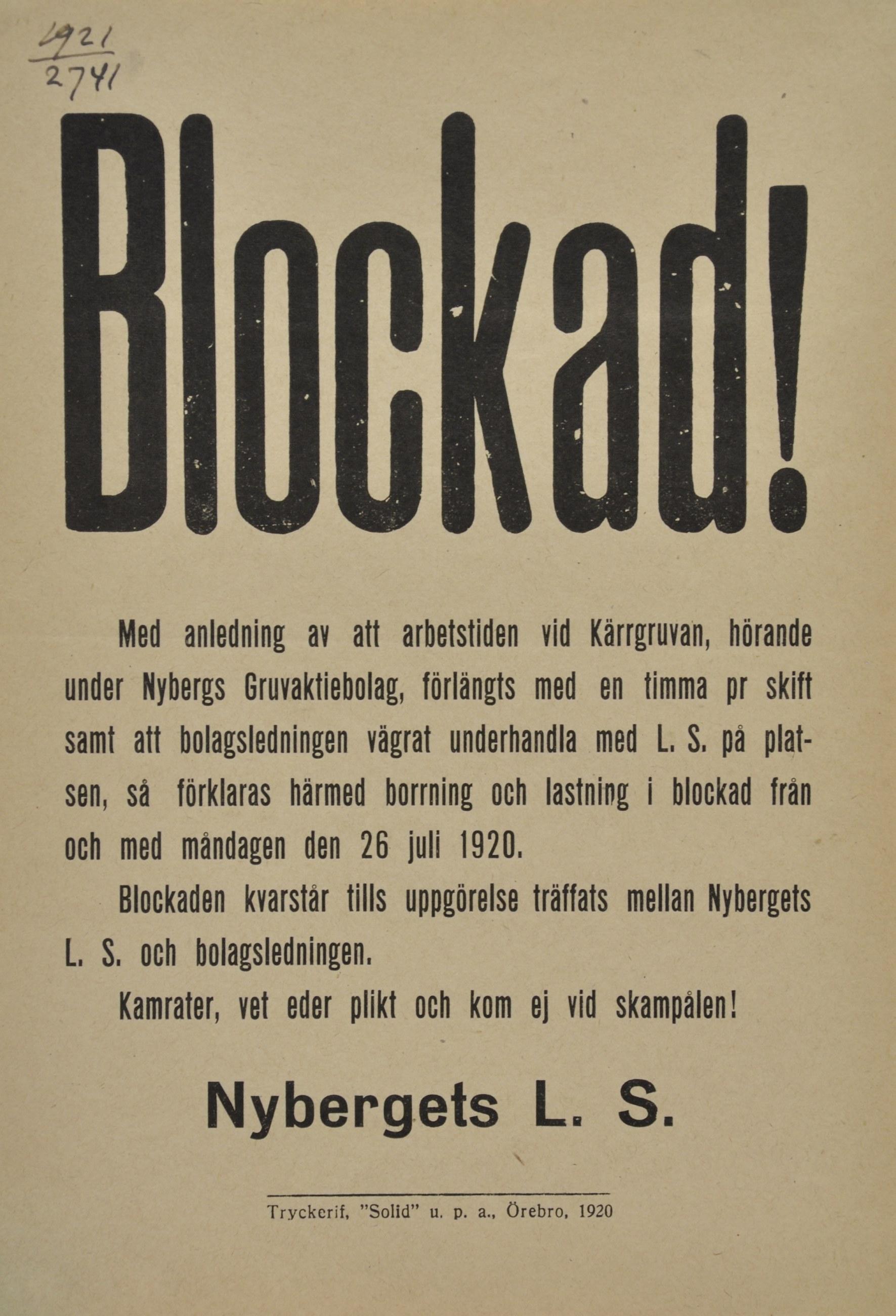 """Affisch med texten """"Blokad!"""""""