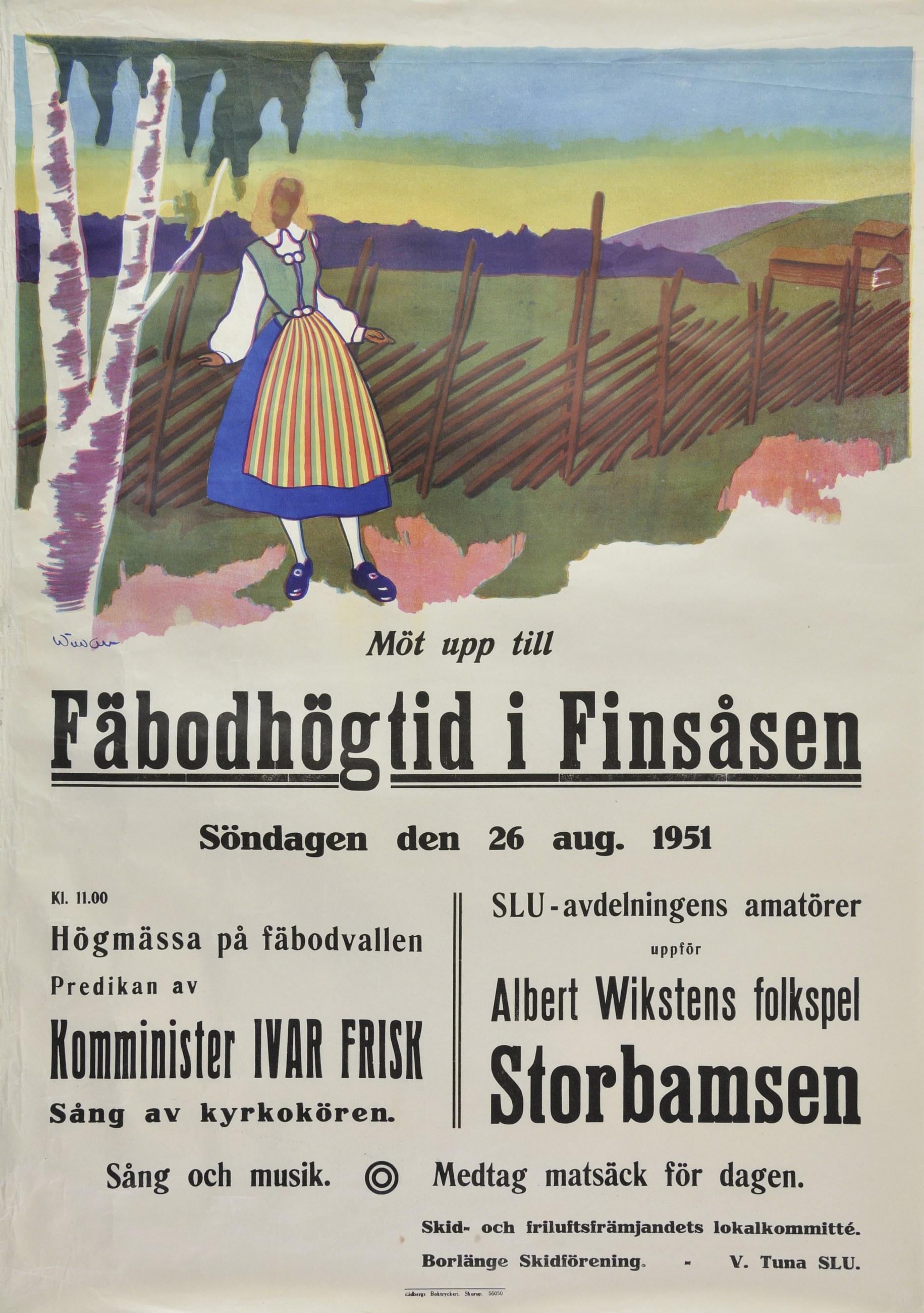 Affisch om Fäbodhögtid i Finsåsen