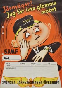 Affisch föreställande en järnvägstjänsteman
