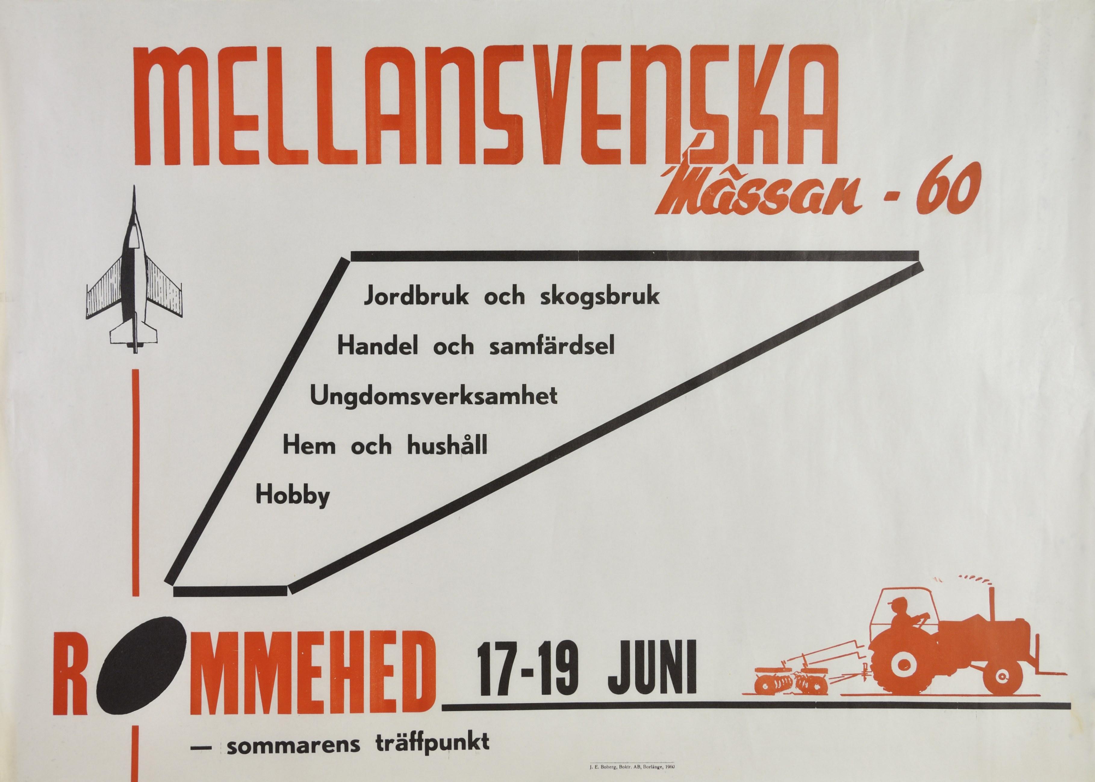 Vit och röd affisch med texten Mellansvenska mässan på Rommehed den 17 till 19 juni 1960
