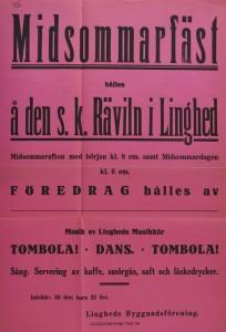 Affisch om Midsommarfest 1920