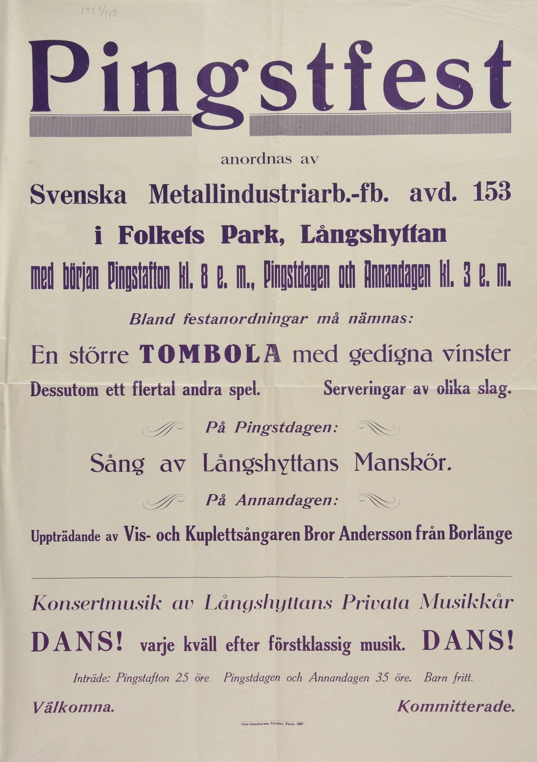 Affisch om Metalls pingstfest 1927