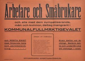 Röd valaffisch från Nyhammars Arbetarkommun