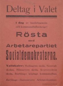 Borlänge-Domnarvet arbetarekommuns valaffisch