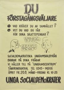 Valaffisch riktad till förstagångsväljare från Socialdemokraterna.