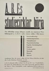 Affisch. ABF´s studiecirklar i Mora hösten 1933. Ämnena var kommunalkunskap, fackföreningsrörelsen, historia, sjukvård med flera.
