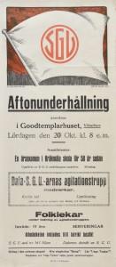 """Affisch. SGU erbjöd """"Aftonunderhållning"""" i Godtemplarhuset i Vikarbyn den 20 oktober 1928. Medverkande SGU Dalarnas agitationstrupp."""