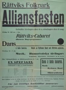 """Alliansfest i Rättviks Folkpark den 12 och 13 augusti 1933. """"Rättviks-Cabaret"""" och dans med mera. Ansvariga var idrottsföreningen, ungdomsklubben och arbetarkommunen i Rättvik."""