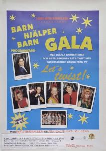 """""""Barn hjälper barn"""", en gala med lokala barnartister arrangerad av IOGT-Ntorörelsen. Kristinehallen i Falun den 9 oktober (okänt år)."""