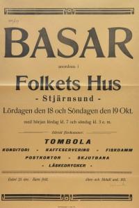 """Järn och metall avdelning 161 anordnade en """"Basar"""" i Folkets Hus i Stjärnsund den 18 och 19 oktober 1924. Där kunde man förlusta sig med konditori, fiskdamm, skjutbana och läskedrycker med mera."""
