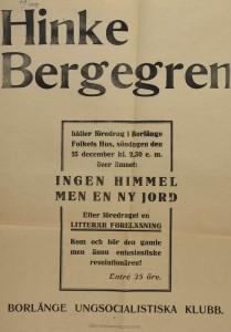 Affisch. Hinke Bergegren håller föredrag i Borlänge Folkets Hus 15 december 1918. Anordnare Borlänge Ungdomssocialistiska klubben (FAW/31.1970).