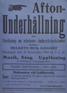 Affisch. ABF i Gagnef ordnade underhållning den 15 november 1914 med musik , sång och uppläsning.