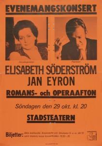 Affisch. Evenemangskonsert med Elisabeth Söderström och Jan Eyron. Stadsteatern gav den här föreställningen 1972-10-29. Falu teaterförening (FAW/46.1968).