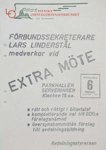 Affisch. Avdelning 103 av Sv.a Järnvägsmannaförbundet bildades 1905. Här ett extramöte 1964-11-06 (FAW/26.1962).