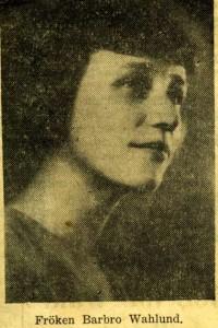 En bild av ordförande Barbro Wahlund från ett tidningsurklipp ur Borlänge Tidning den 21 september 1939.
