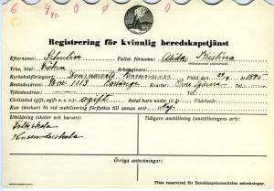 Registreringskortets ena sida med adressuppgifter.