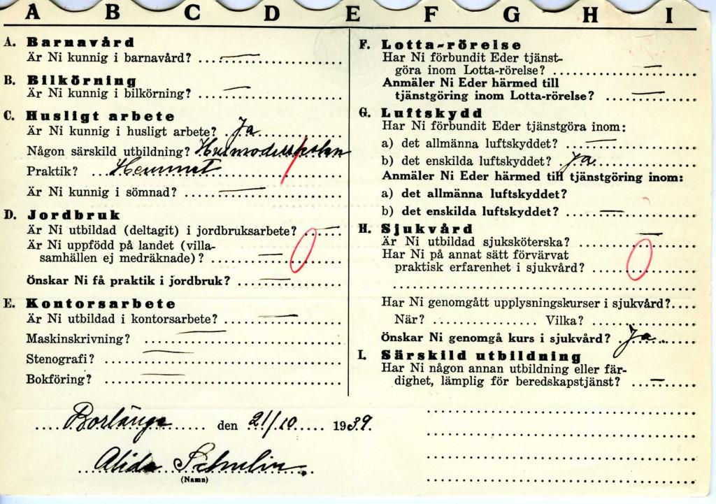 Registreringskortets andra sida med kunskaps och erfarenhetsuppgifter.