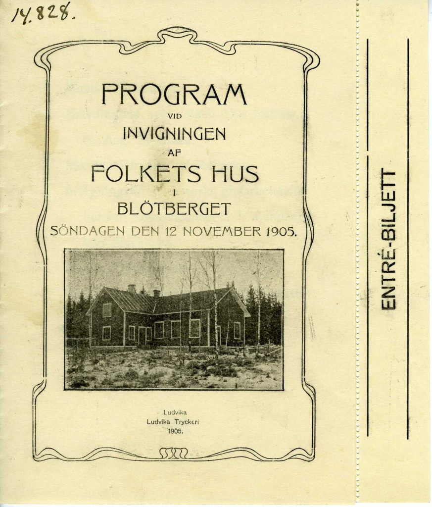 Programblad vid invigningen av Blötbergets Folkets Hus den 12 november 1905