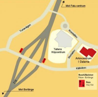 Karta som visar var Arkivcentrum finns i relation till E16 och Tallens Köpcentrum.